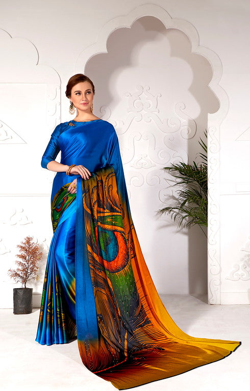 Blue Color Satin Kitty Party Wear Saree - Inika Collection YF#10956