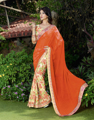 Orange Color Wrinkle Chiffon Casual Wear Sarees : Hirisha Collection  YF-32461