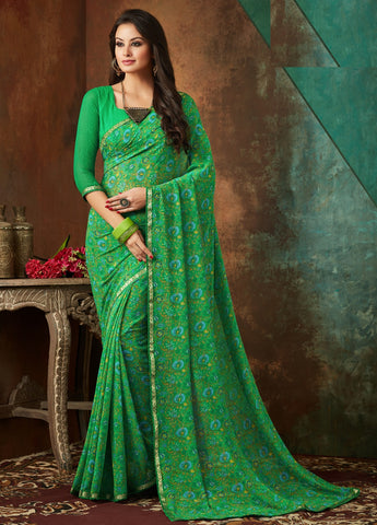 Green Color Georgette Kitty Party Sarees : Banhi Collection YF-70804
