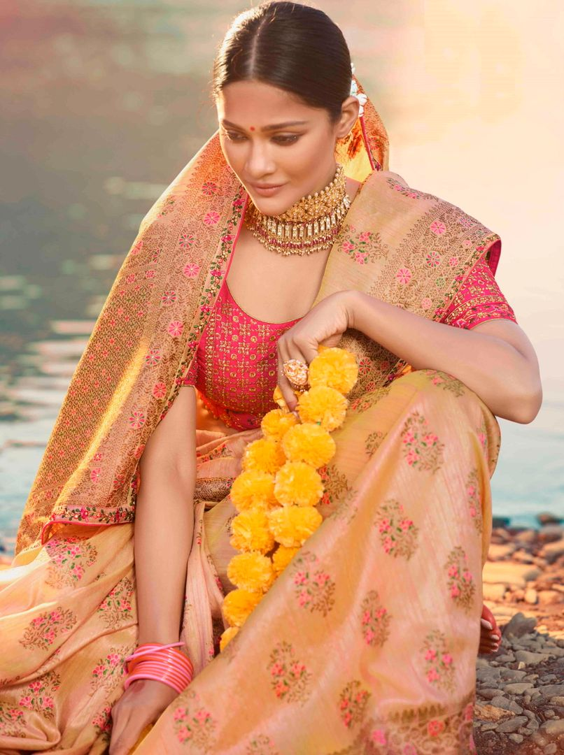 Light Peach Color Raw Silk Designer Bridal Sarees NYF-4151 - YellowFashion.in