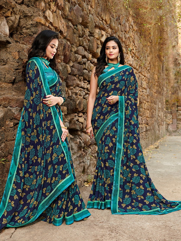 Blue Color  Georgette Casual Wear saree -Saira Collection YF#10035
