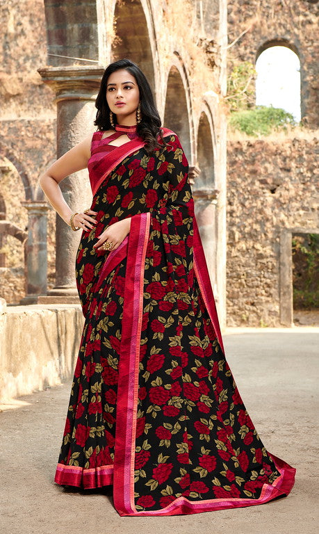 Black and Red Color  Georgette Casual Wear saree -Saira Collection YF#10036