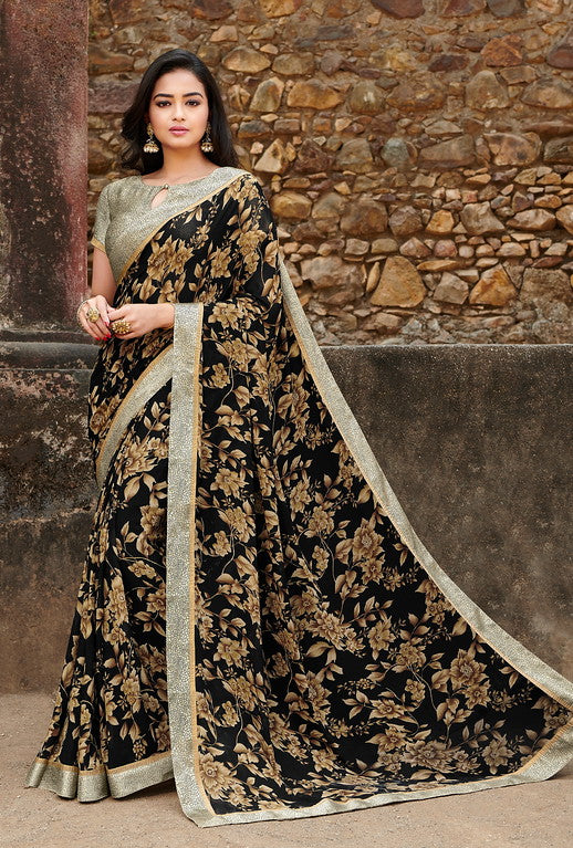 Black and Beige Color  Georgette Casual Wear saree -Saira Collection YF#10039