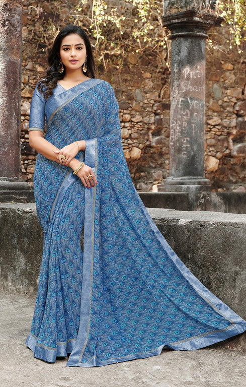 Blue Color  Georgette Casual Wear saree -Saira Collection YF#10043