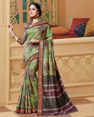 Light coffee & Green Color Bhagalpuri Casual Wear Sarees : Neva Collection  YF-46972
