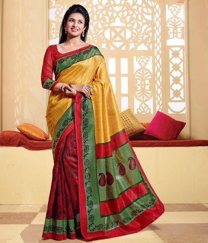 Red & Yellow Color Bhagalpuri Casual Wear Sarees : Neva Collection  YF-46975