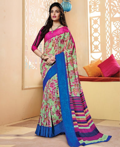 Pastel Green & Pink Color Bhagalpuri Casual Wear Sarees : Neva Collection  YF-46977