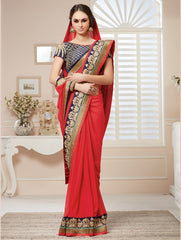 Red Color Georgette Party Wear Sarees : Nirisha Collection  YF-36889
