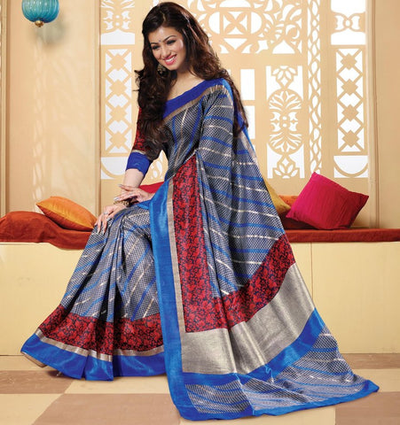 Blue Color Bhagalpuri Casual Wear Sarees : Neva Collection  YF-46980