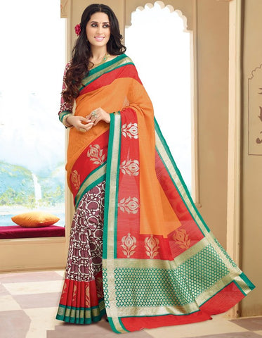 Orange, red & Burgandy Color Bhagalpuri Casual Wear Sarees : Neva Collection  YF-46983