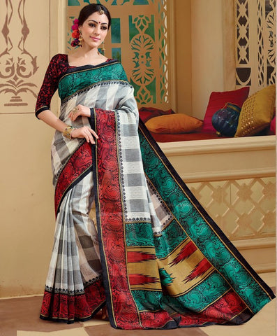 Grey, red & Rama green Color Bhagalpuri Casual Wear Sarees : Neva Collection  YF-46985