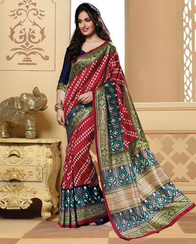 Red Color Bhagalpuri Casual Wear Sarees : Neva Collection  YF-46986