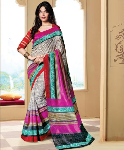 Grey Color Bhagalpuri Casual Wear Sarees : Neva Collection  YF-46988