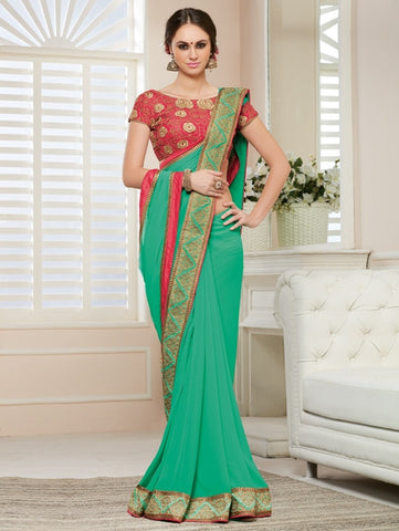 Green Color Georgette Party Wear Sarees : Nirisha Collection  YF-36890