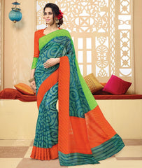 Green & Blue Color Bhagalpuri Casual Wear Sarees : Neva Collection  YF-46990