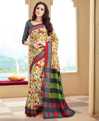 Cream & Red Color Bhagalpuri Casual Wear Sarees : Neva Collection  YF-46991