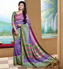 Pink, Purple & Green Color Bhagalpuri Casual Wear Sarees : Neva Collection  YF-46992