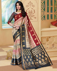 Cream & Red Color Bhagalpuri Casual Wear Sarees : Neva Collection  YF-46994