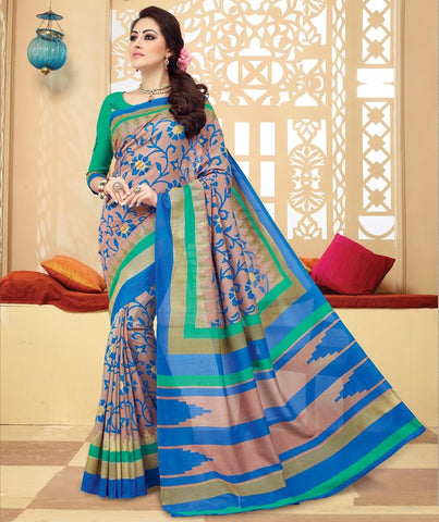 Light Copper & Green Color Bhagalpuri Casual Wear Sarees : Neva Collection  YF-46998