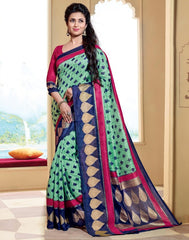 Green & Blue Color Bhagalpuri Casual Wear Sarees : Neva Collection  YF-47001