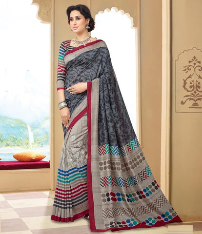 Mud & Grey Color Bhagalpuri Casual Wear Sarees : Neva Collection  YF-47002