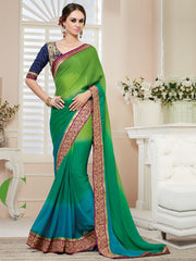 Shades Of Green Color Georgette Party Wear Sarees : Nirisha Collection  YF-36892
