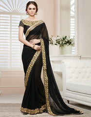 Black Color Georgette Party Wear Sarees : Nirisha Collection  YF-36893
