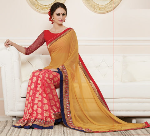 Yellow & Gajjaria Color Half Georgette & Half Georgette Butti Party Wear Sarees : Nirisha Collection  YF-36894