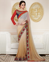Light Coffee Color Georgette Party Wear Sarees : Nirisha Collection  YF-36895