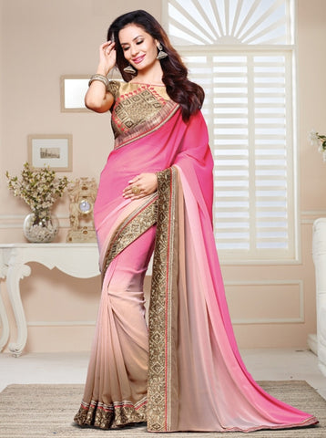 Pink Color Georgette Party Wear Sarees : Nirisha Collection  YF-36896