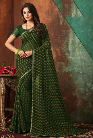 Green Color Georgette Kitty Party Sarees : Banhi Collection YF-70806