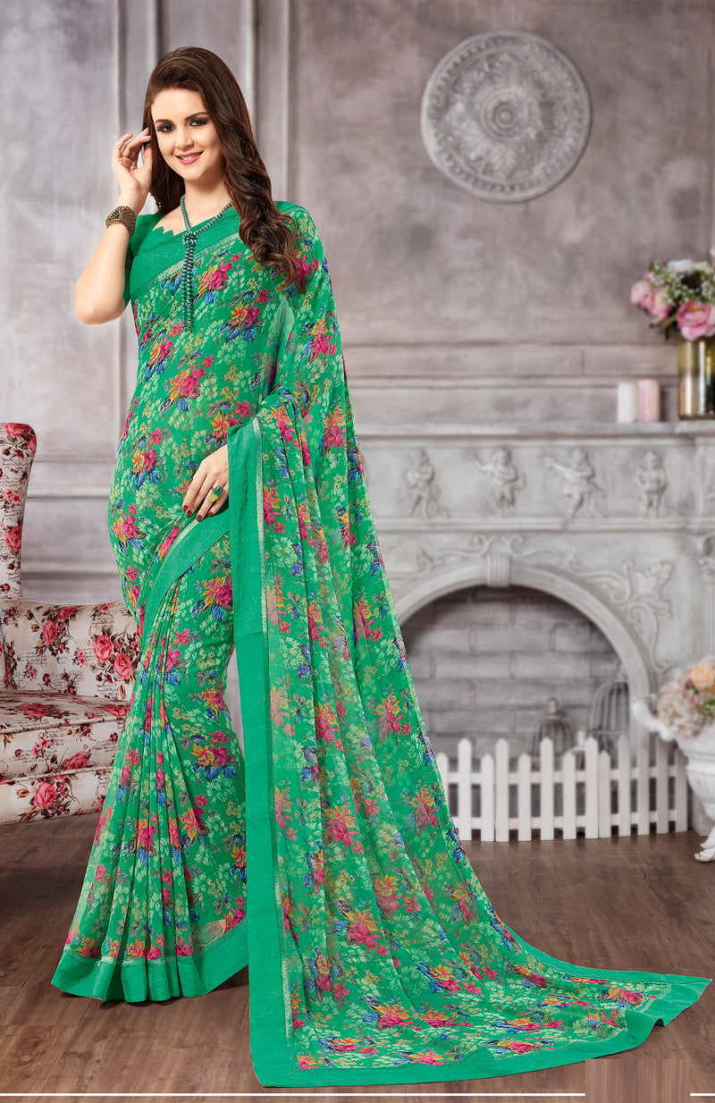 Green Color Georgette Casual Wear Saree-  Vismitha Collection  YF#11417