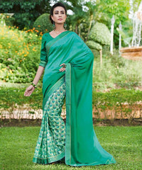 Light & Dark Green Color Half Twist Tusser & Half Fancy Crepe Party Wear Sarees : Kavina Collection  YF-48633