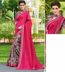 Pink & Grey Color Half Twist Tusser & Half Fancy Crepe Party Wear Sarees : Kavina Collection  YF-48634