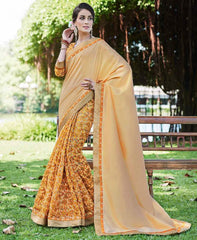 Light Coffee, Yellow & Orange Color Half Twist Tusser & Half Fancy Crepe Party Wear Sarees : Kavina Collection  YF-48635