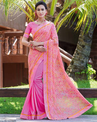 Pink Color Half Twist Tusser & Half Fancy Crepe Party Wear Sarees : Kavina Collection  YF-48636