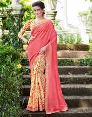 Pink Color Half Twist Tusser & Half Fancy Crepe Party Wear Sarees : Kavina Collection  YF-48638