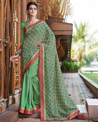 Green Color Half Twist Tusser & Half Fancy Crepe Party Wear Sarees : Kavina Collection  YF-48639
