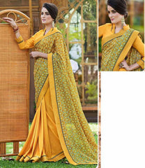 Yellow & Light Green Color Half Twist Tusser & Half Fancy Crepe Party Wear Sarees : Kavina Collection  YF-48640