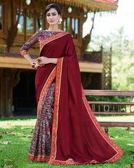 Maroon & Grey Color Half Twist Tusser & Half Fancy Crepe Party Wear Sarees : Kavina Collection  YF-48641
