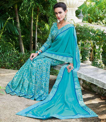 Firozi Color Half Twist Tusser & Half Fancy Crepe Party Wear Sarees : Kavina Collection  YF-48642