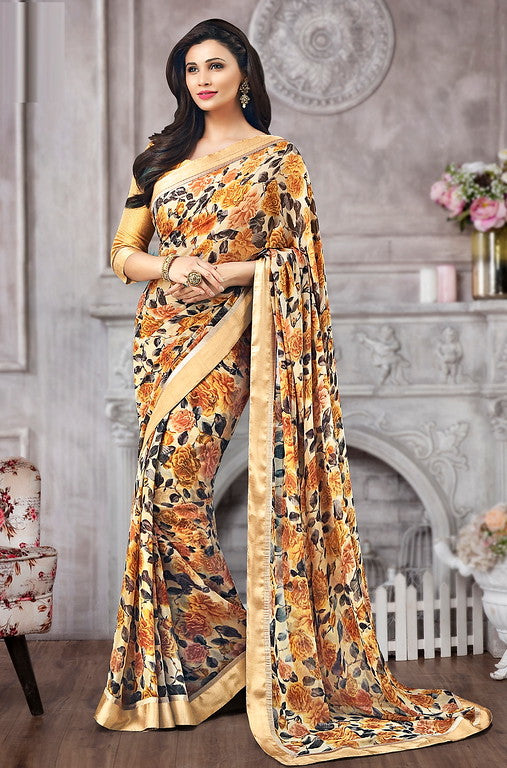Cream and Mustard Yellow Color Georgette Casual Wear Saree-  Vismitha Collection  YF#11426