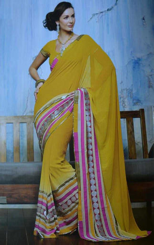 Yellow  Colour  Chiffon  Material Designer Sarees : All-Time Collection -  YF-16766