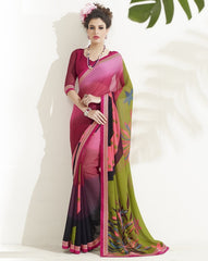 Pink & Green Color Georgette Casual Party Sarees : Sanaya Collection  YF-33449