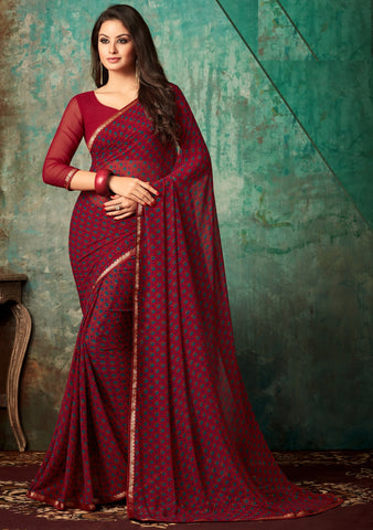 Maroon Color Georgette Kitty Party Sarees : Banhi Collection YF-70810