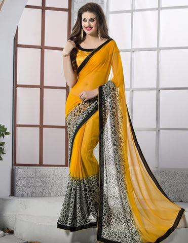 Mango Yellow Color Georgette Party Wear Sarees : Nandini Collection  YF-36868
