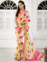 Cream & Pink Color Georgette Party Wear Sarees : Trishla Collection  YF-37969