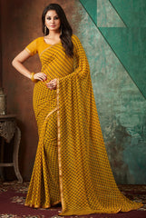 Yellow Color Georgette Kitty Party Sarees : Banhi Collection YF-70811