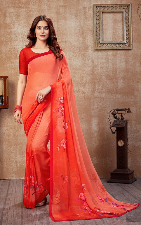 Shades Of Red Color Georgette Casual Wear Saree -  Fulki Collection  YF#10972