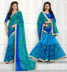 Blue Color Georgette Party Wear Sarees : Trishla Collection  YF-37971